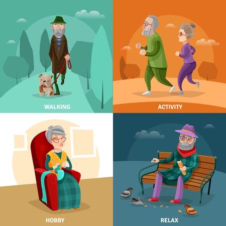 ricreazione: Vecchio concetto di cartone animato di persone con diverse attività e ricreazione in illustrazione vettoriale età matura Vettoriali