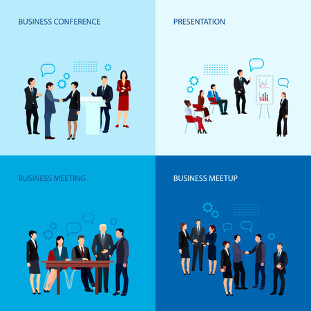 meetup: Meeting and conference concept with business people group in flat style vector illustration