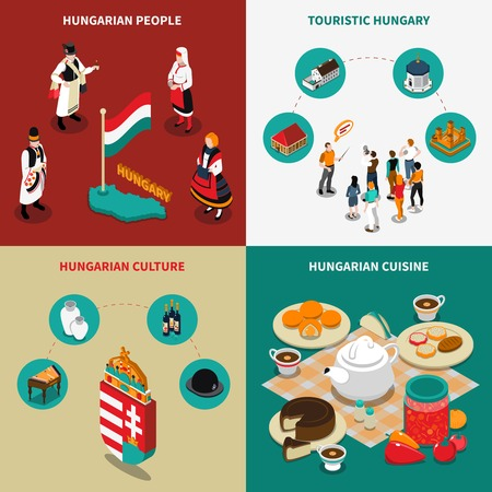 touristic: Colorful hungary isometric touristic 2x2 icons set with hungarian culture cuisine and people in national costumes isolated vector illustration