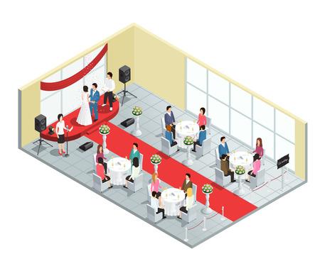 Wedding ceremony in restaurant isometric composition vector illustration Vector Illustration