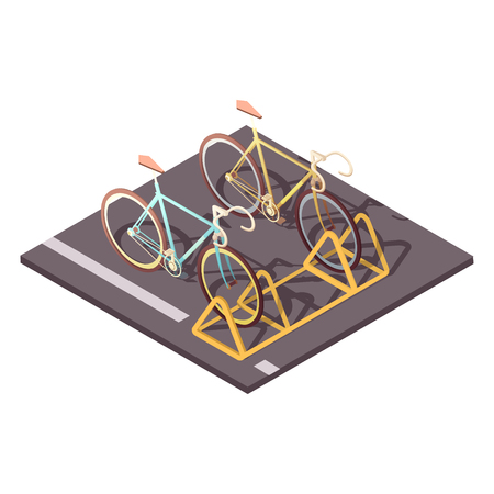 fasteners: Bicycle parking concept with city bike ride symbols isometric vector illustration Illustration