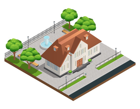 suburban: Isometric composition with suburban house and big clean yard with fountain trees and benches on white background vector illustration