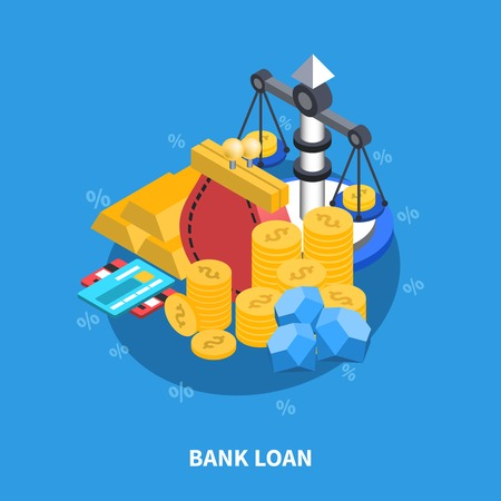 Bank loan financial isometric icons round composition with coins scales gold money credit card diamonds symbols vector illustration