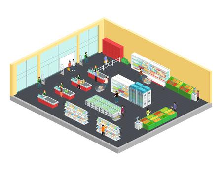 Composizione isometrica del supermercato con illustrazione vettoriale simboli di cibo e bevande