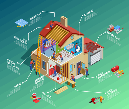 Huis reparatie isometrische infographics met huis vernieuwing voorman onderhoudswerken en tools geïsoleerd vector illustratie Stockfoto - 66887855