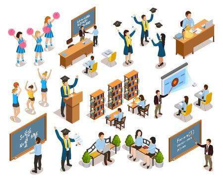 College universitaire studenten schrijven op schoolborden in de bibliotheek cheerleading en afstuderen isometrische iconen collectie vector illustratie