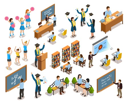 College university students writing on blackboard studying in library cheerleading and graduating isometric icons collection vector illustration Illustration