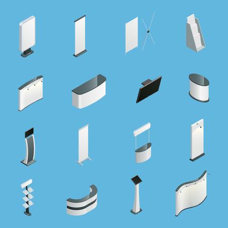 Wystawa promocji stoi izolowane ikony izometrycznej ilustracji wektorowych