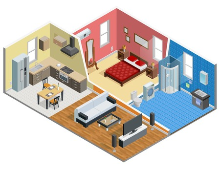 Apartment isometric design with bedroom bathroom kitchen and living room vector illustration