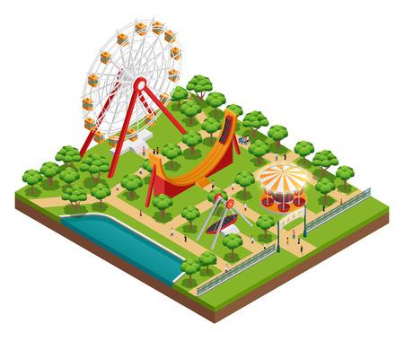 Amusement park isometric composition with carousel and ferris wheel symbols vector illustration Illustration