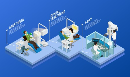 Dentistry isometric template with different stages of medical care in stomatology on blue background isolated vector illustration