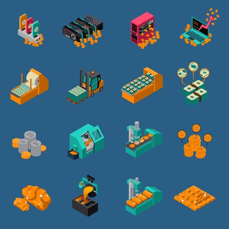 Money manufacturing isometric icons of gold production equipment and dollar printing press isolated vector illustration