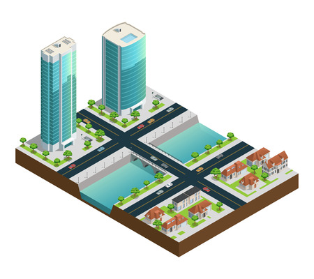 Isometric cityscape composition with modern skyscrapers suburban houses near canal on white background vector illustration