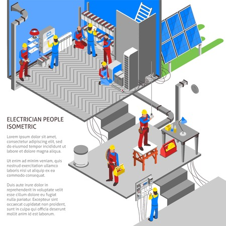 Electrician isometric composition with technology and power symbols isometric vector illustration