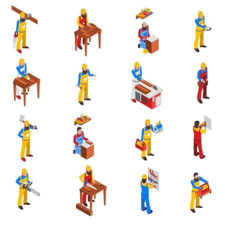 woodwork: Woodwork people isometric icons set with tools and uniform isolated vector illustration