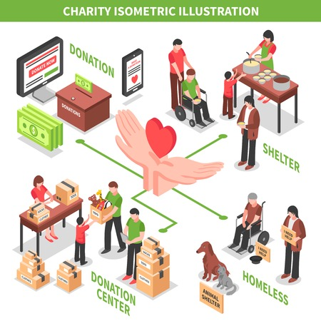 Charity donation center helping homeless and needy people and animals isometric vector illustration Stock Illustratie