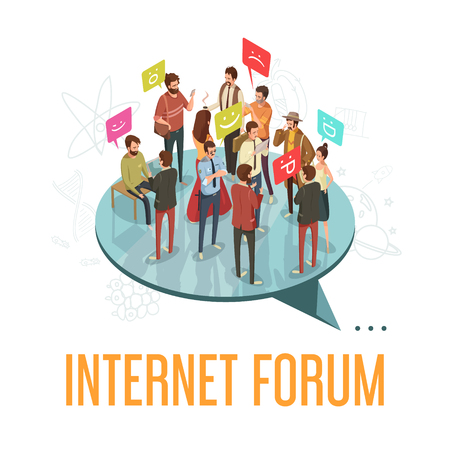 Internet forum society with communicating people concept isometric vector illustration Illustration