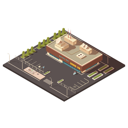 establishment states: Radio center building concept with parking and equipment isometric vector illustration