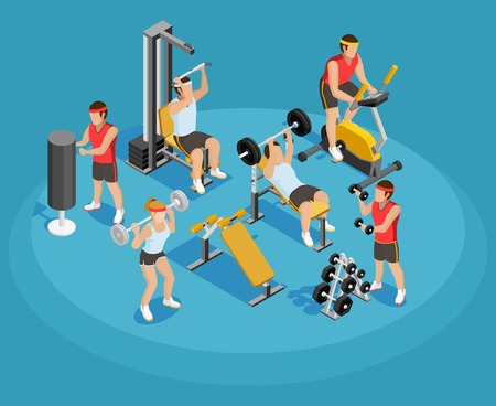 signo pesos: Gym isometric template with people and sports equipments in colorful style on blue background vector illustration