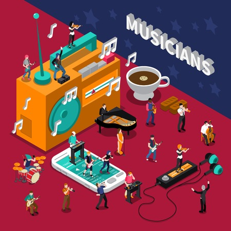 listening to people: Abstract isometric composition with musicians people and music listening devices vector illustration