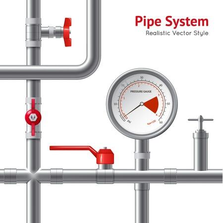 pressure gauge: Plastic pipe system with pressure gauge realistic background vector illustration Illustration