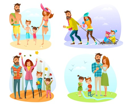 streamlet: Happy family spending good time in different seasons isolated on white background cartoon vector illustration