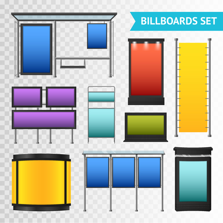 displays: Colorful promotional billboards set with various displays and boxes isolated on transparent background vector illustration