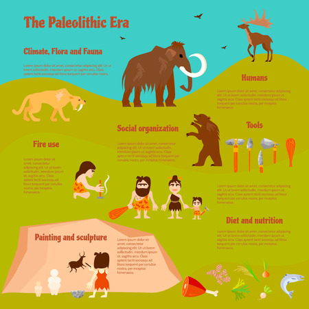 tribe: Stone age flat infographics with tribe caveman ancient animals weapon activities and food vector illustration