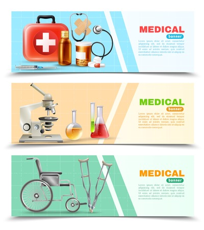 druggist: Healthcare online 3 medical horizontal banners set with lab electronic microscope wheelchair and crutches isolated  background vector illustration