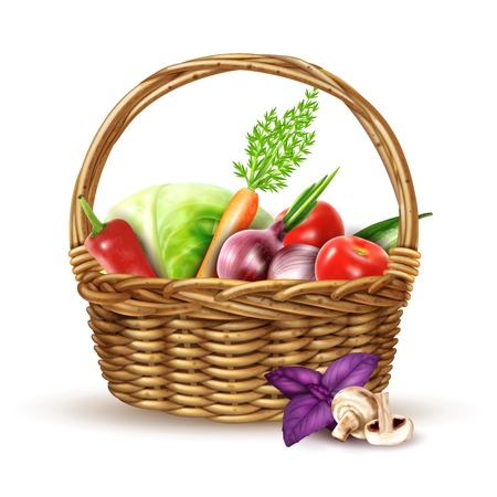 Round wicker basket with handle full with fresh farmers market vegetables realistic image shadow vector illustration Illustration