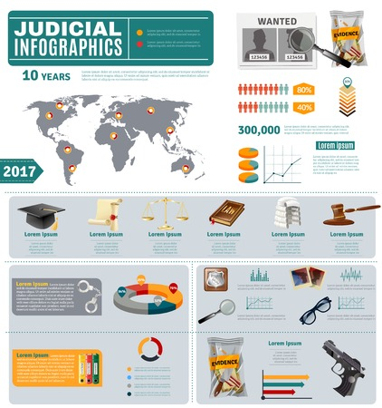law and order: Criminal law and common civil justice system flat infographic presentation poster with international crime map vector illustrations Illustration
