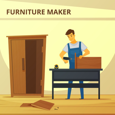 custom cabinet: Carpenter assembling furniture flat poster with young professional at work hand hammering cupboard abstract vector illustration