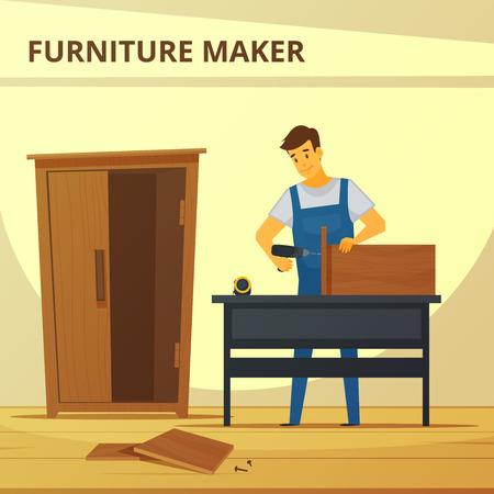 Timmerman montage meubelen platte poster met jonge professionele op het werk hand hameren kast abstracte vector illustratie