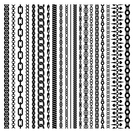 thickness: Black vertical chains set of different shapes ornament and thickness on white background isolated vector illustration