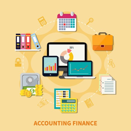 scores: Collection of decorative icons for business and finance themes with set of modern gadgets and retro tools for accounting flat vector illustration