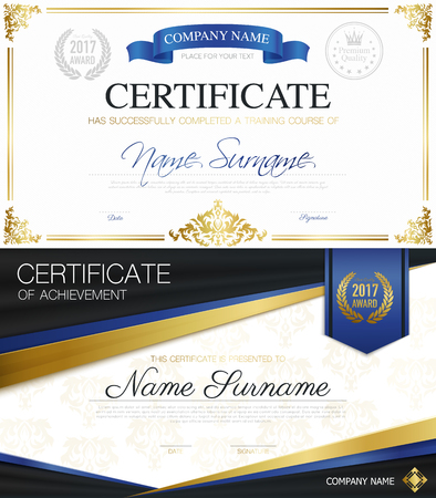 completion: Classic elegant certificates collection of achievement and completion with ribbons and place for text vector illustration