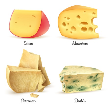 Relish quality special cheeses realistic images square composition with edam maasdam parmesan and dorblu isolated vector illustration