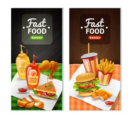 restaurant food: Fast food restaurant 2 colorful vertical banners with french fry sandwich chicken drums black background isolated vector illustration