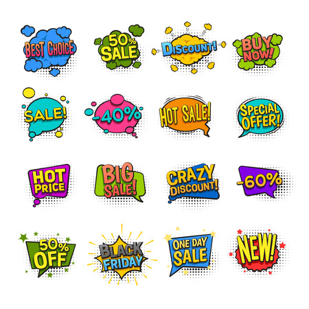 sale icons: Sale comic icons set with discount symbols flat isolated vector illustration