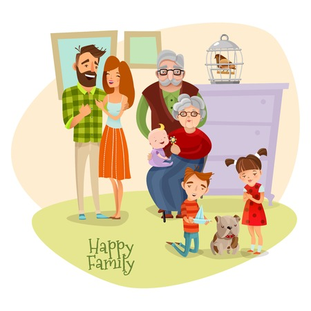 family with dog: Happy family flat template with mother father son daughter grandmother grandfather baby and dog vector illustration