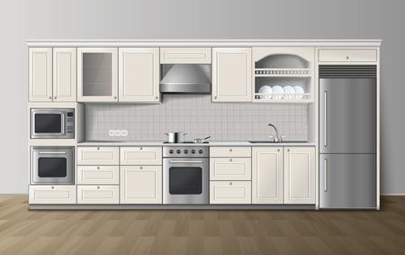 I Moderni Armadi Bianchi Cucina Di Lusso Con Piano Cottura ...