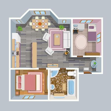 plan de la parte superior plana vista arquitectónico con cocina sala de estar cuarto de baño y sala de estar muebles de ilustración vectorial