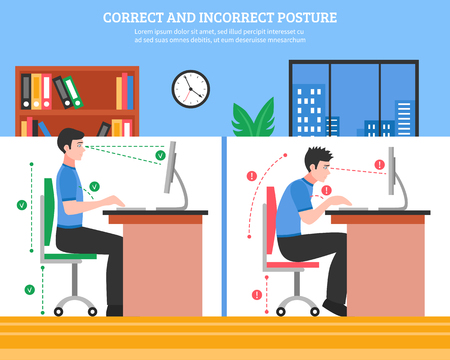 proper: Young man demonstrating correct and incorrect sitting postures for healthy spine while working on computer flat vector illustration