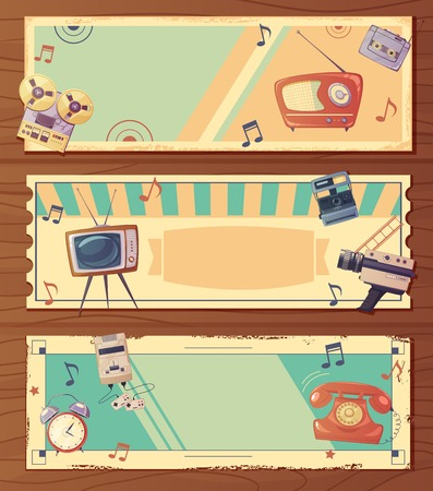clock radio: Retro devices horizontal banners with music video and other classic gadgets isolated vector illustration Illustration