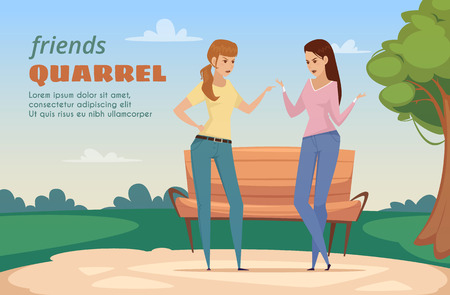 Friends dispute template with two angry ladies in park in flat style vector illustration