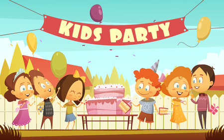 Kids party cartoon background with funny company of boys and girls celebrating birthday outdoors flat  vector illustration