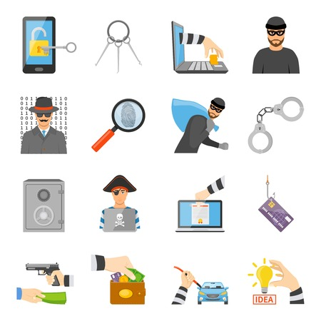 Theft icons set of information idea property money stealing in flat style isolated vector illustration Illustration