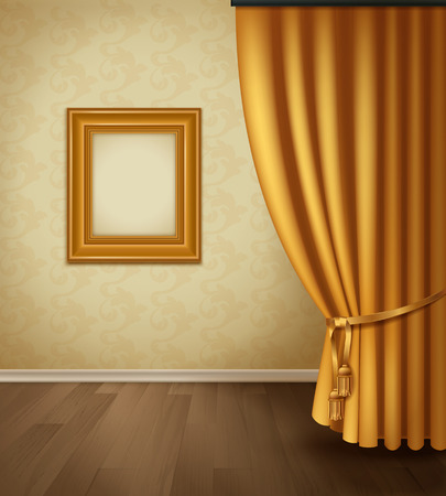 plinth: Classical curtain interior with frame wall wooden floor plinth in realistic style vector illustration