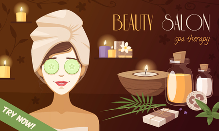 woman accessories: Spa beauty salon cartoon template with woman mask organic natural healthy accessories vector illustration Illustration