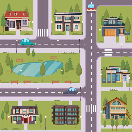 residential houses: Countryside flat template with suburban residential houses cottages estates trees grass lake road cars vector illustration